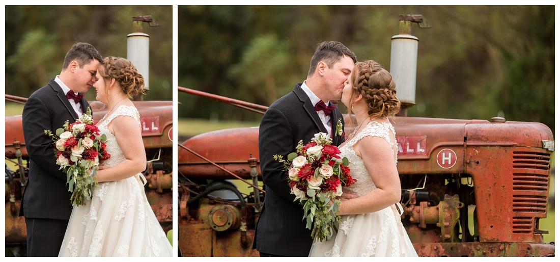 Vineyards of Marys Meadow Wedding in Darlington Maryland. Rainy fall wedding. Cold wedding day. Rainy wedding day. maryland wedding photographer. Barn wedding. Farm Wedding. bride and groom newlywed portraits with tractor