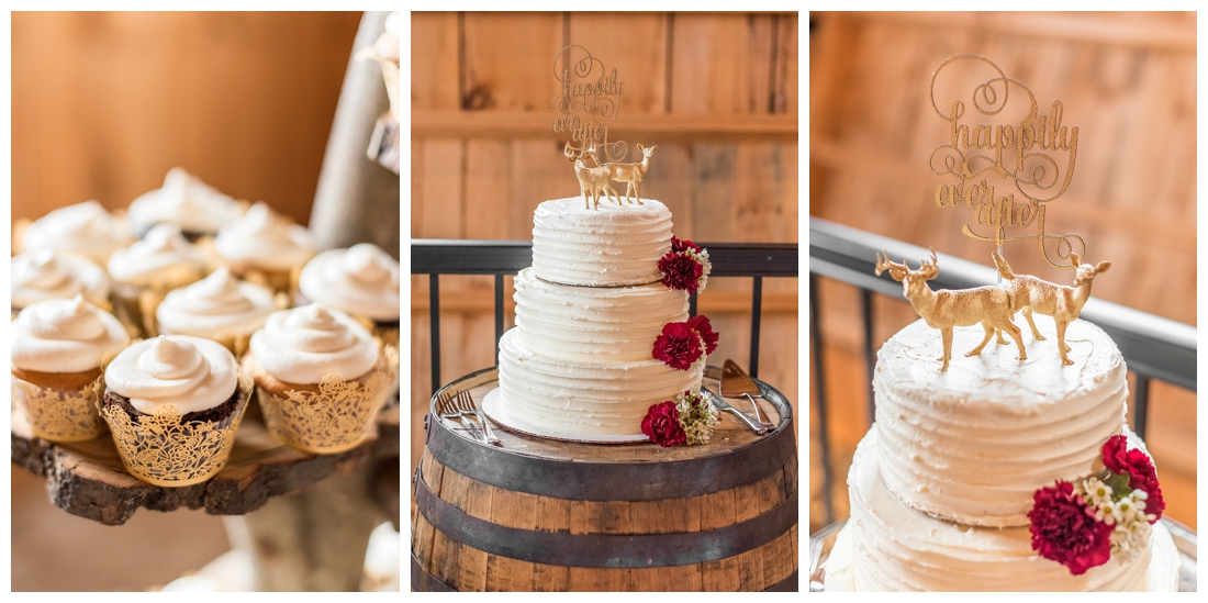 Vineyards of Marys Meadow Wedding in Darlington Maryland. Rainy fall wedding. Cold wedding day. Rainy wedding day. maryland wedding photographer. Barn wedding. Farm Wedding. wedding cake happily ever after. Homemade wedding cake. Deer on wedding cake.