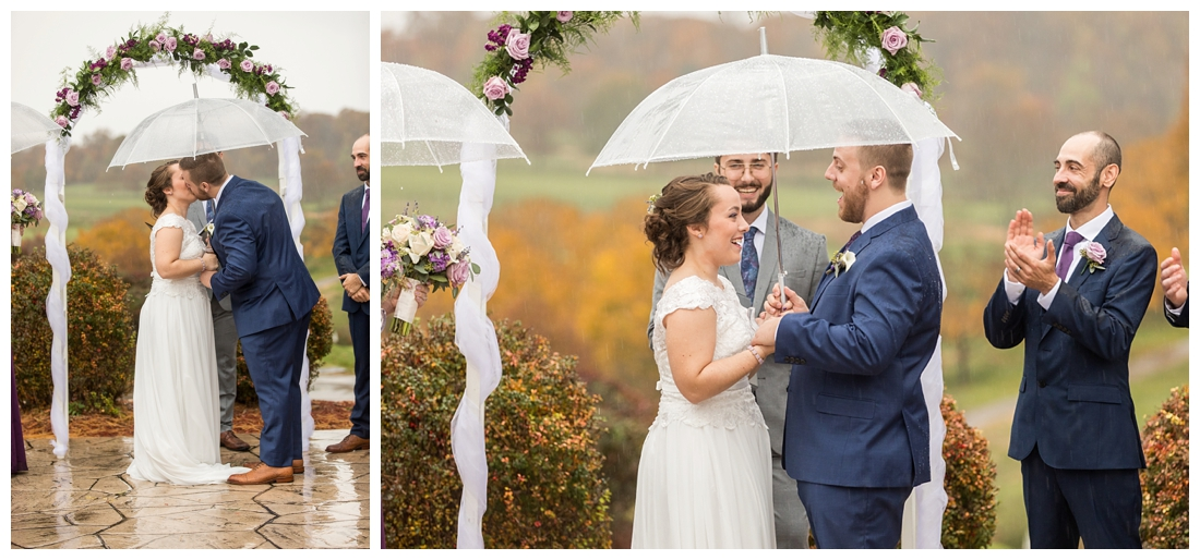 Fall wedding frederick maryland. PB dye golf club wedding. purple and navy wedding. disney themed wedding. rainy wedding day. rainy outdoor ceremony. Rain during the ceremony. Corgi cake topper.