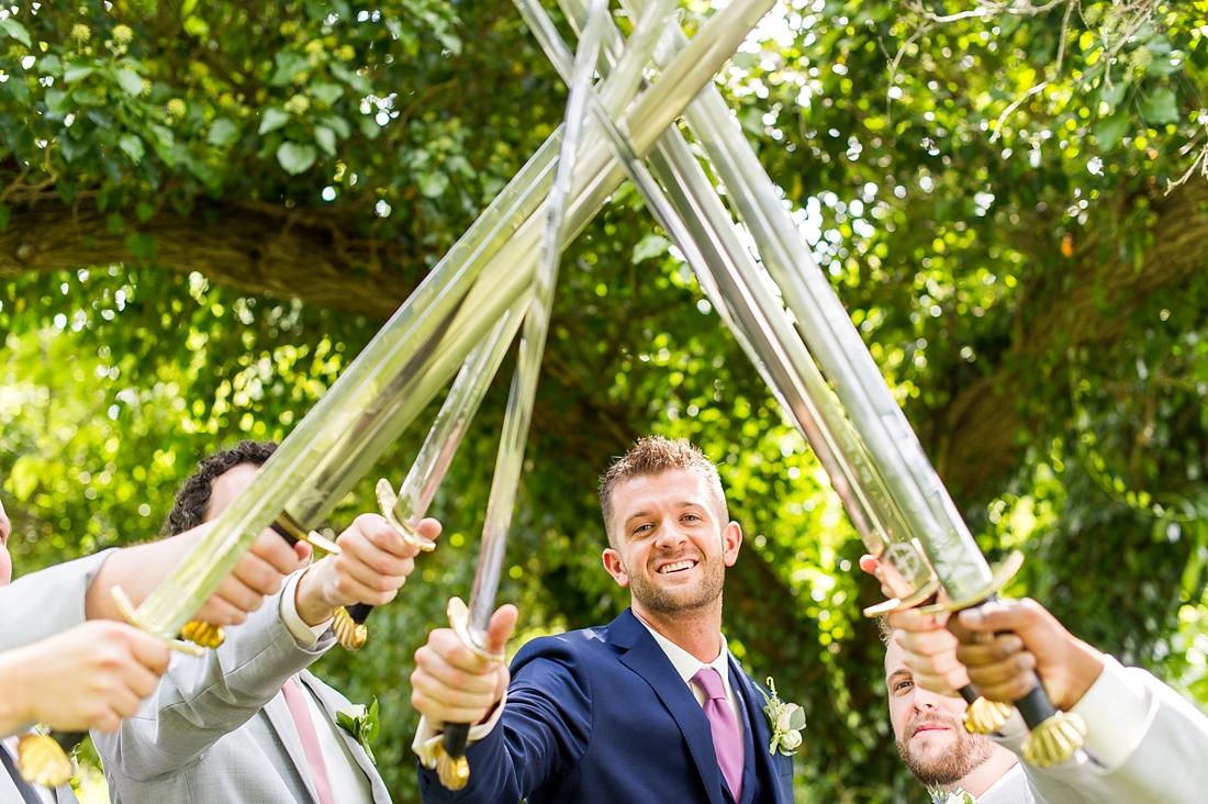 Antrim 1844 wedding. Summer wedding. 2019 couple. 2019 bride. bridal party swords