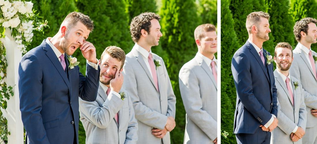 Antrim 1844 wedding. Summer wedding. 2019 couple. 2019 bride. groom crying. best man crying