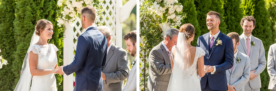 Antrim 1844 wedding. Summer wedding. 2019 couple. 2019 bride. exchanging vows
