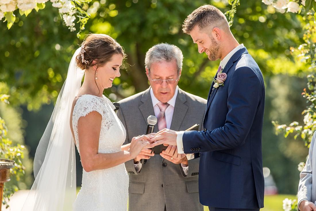 Antrim 1844 wedding. Summer wedding. 2019 couple. 2019 bride. exchanging rings