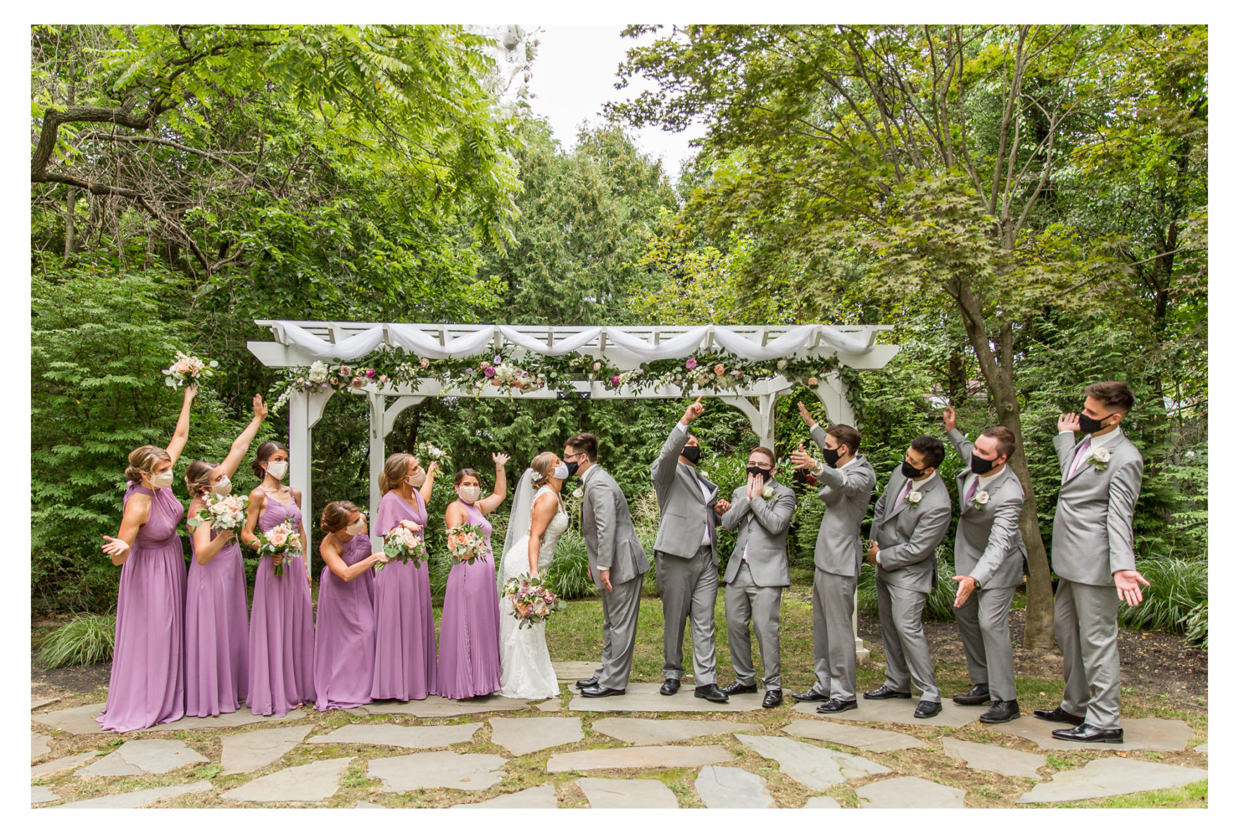 Summer wedding. Seasons at Magnolia Manor. 2020 Wedding. Covid wedding. Purple wedding. Ukulele. Outdoor reception. Bistro lights reception.