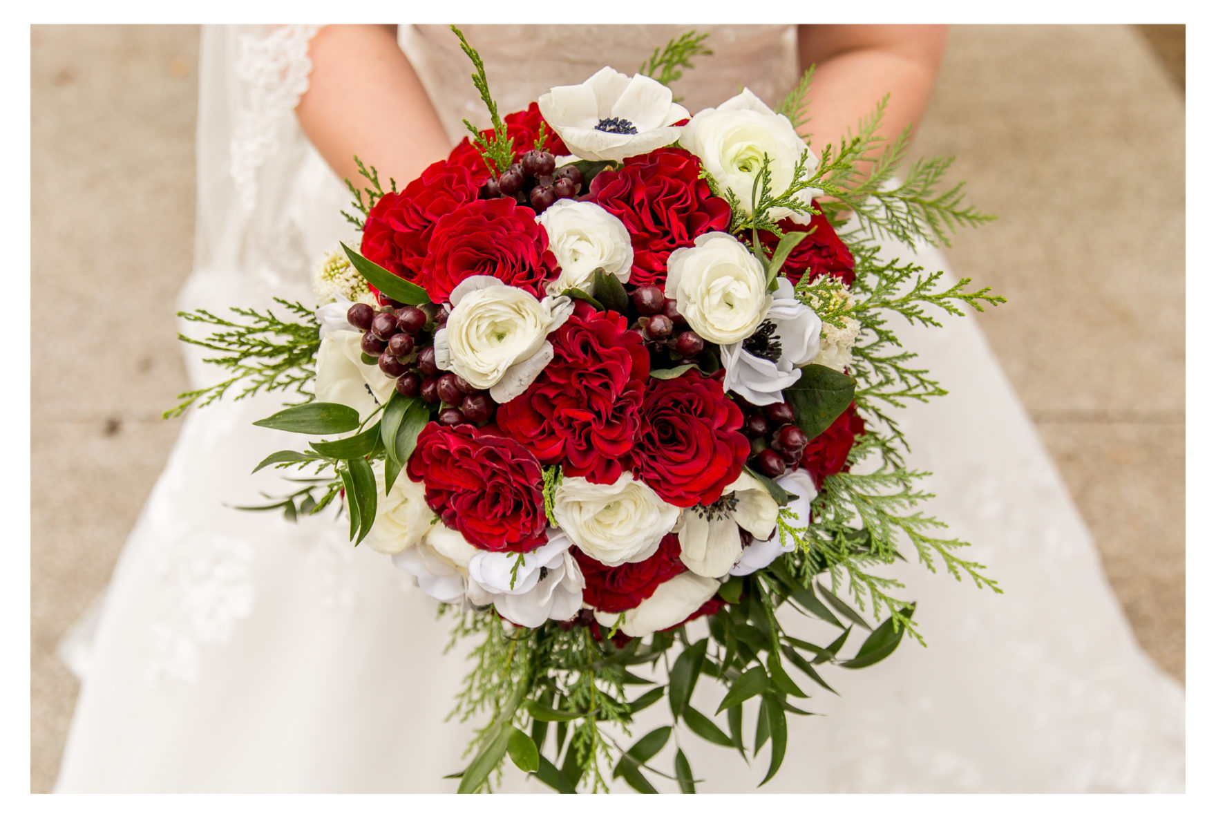 Winter Wedding. Beauty and the beast wedding. Green and red. Liriodendron mansion. Mansion Wedding. dog socks. florist's wedding. Roni's Roses. Covid wedding Pandemic wedding