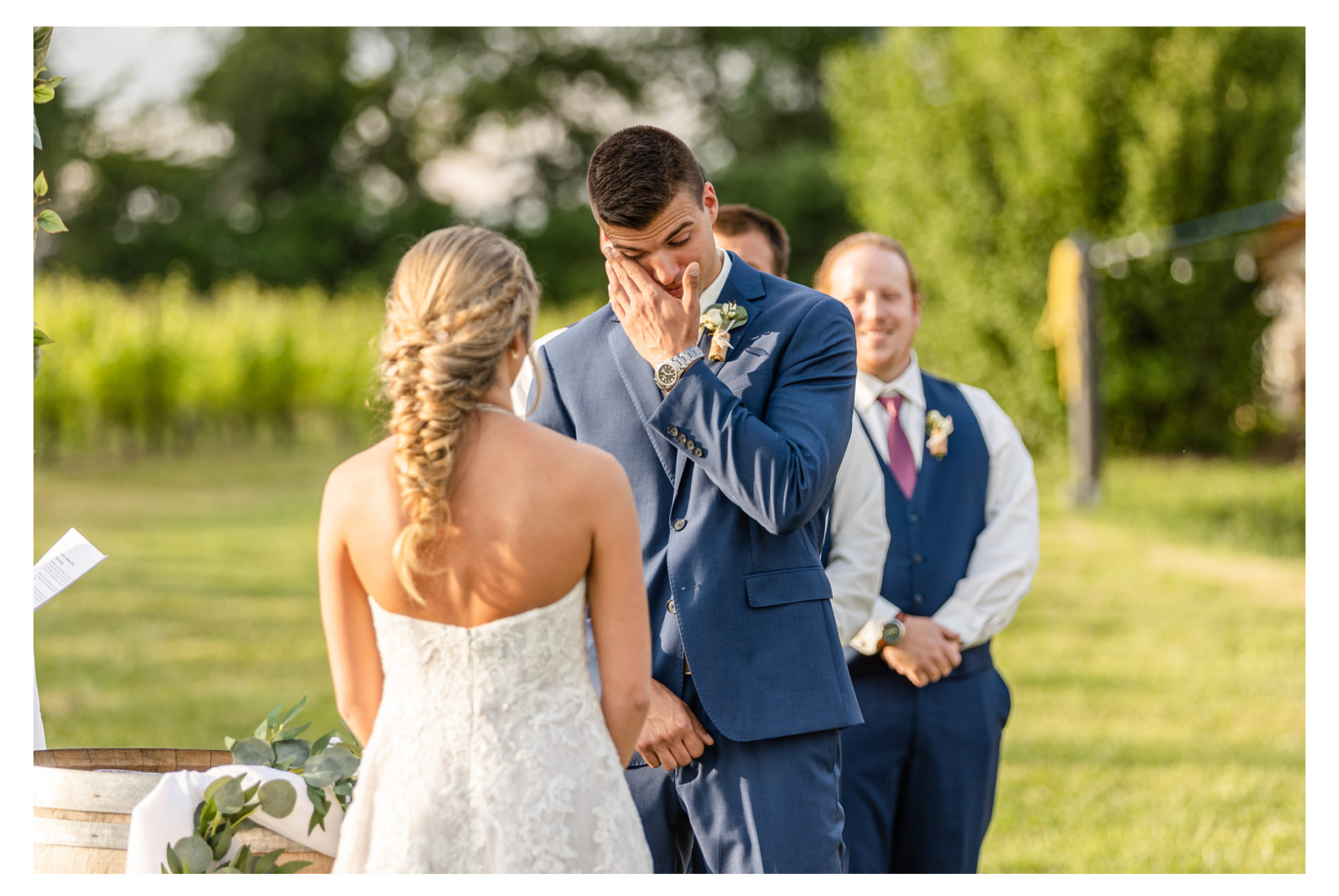 Summer wedding at Black Ankle Winery. Junior best men, gymnast dancing, mauve and navy wedding colors, double rainbow at wedding, sparkler send off
