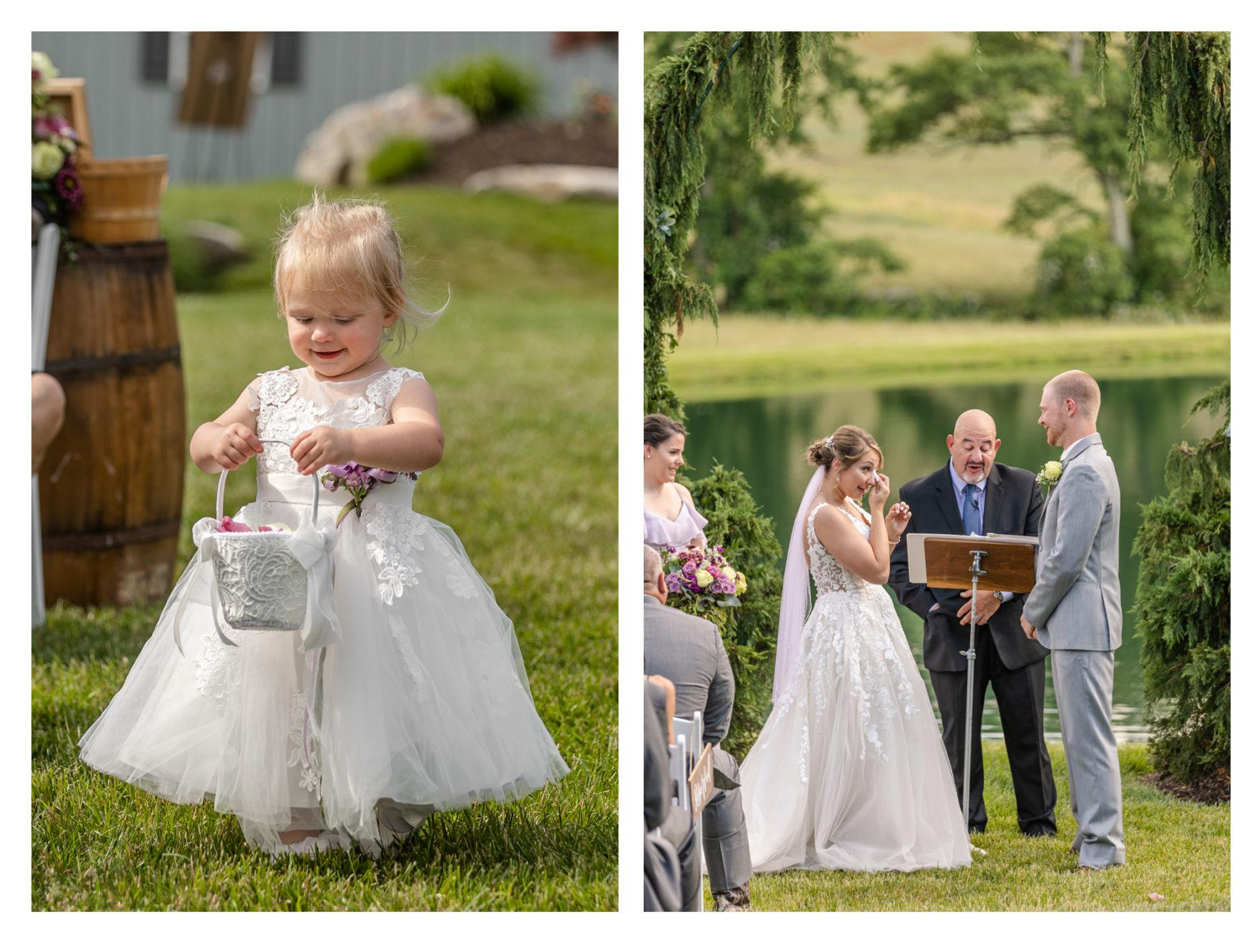 Summer Wedding Stone Ridge Hollow June Wedding Lavender dresses flower girl bride
