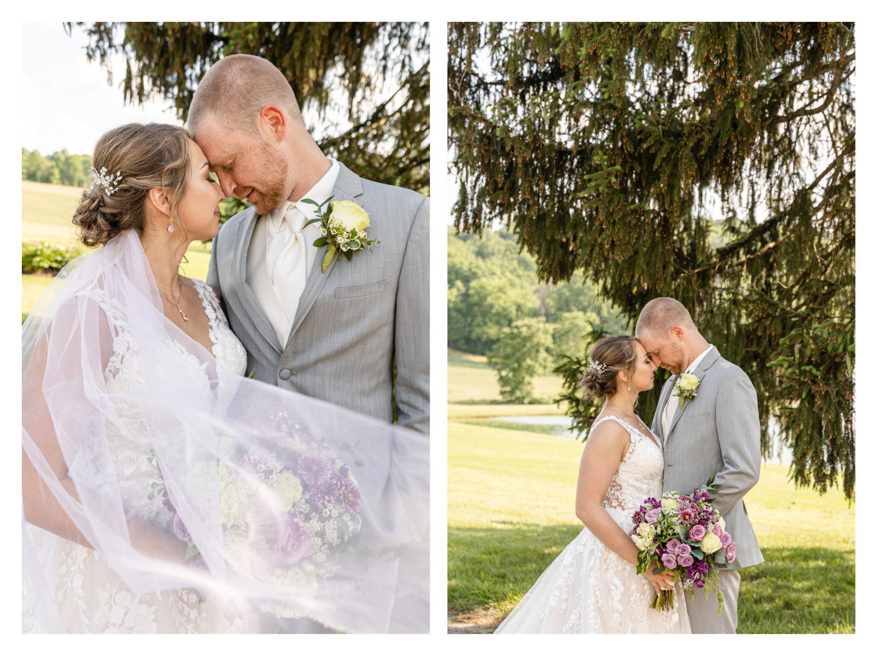 Summer Wedding Stone Ridge Hollow June Wedding Lavender dresses bride and groom newlyweds