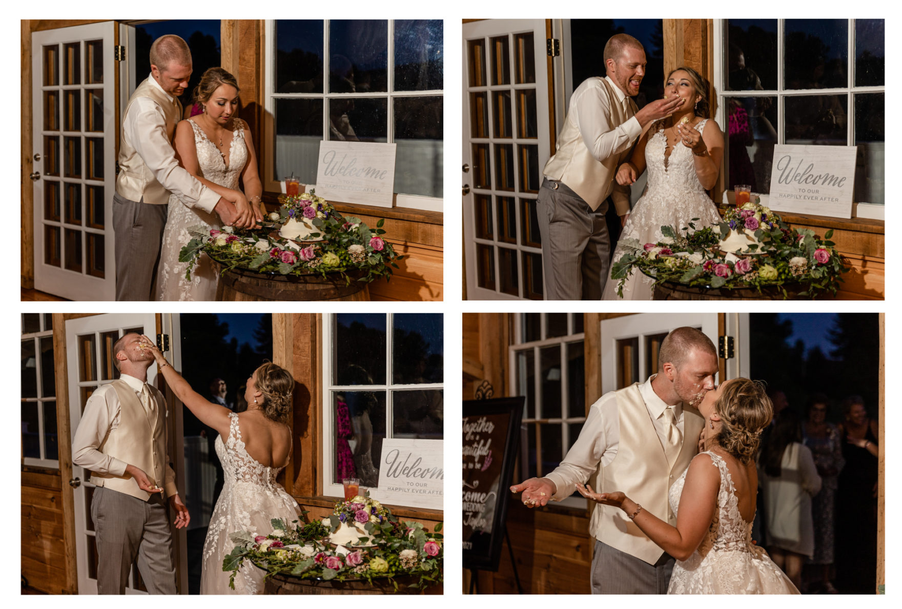 Summer Wedding Stone Ridge Hollow June Wedding Lavender dresses barn reception cake smash