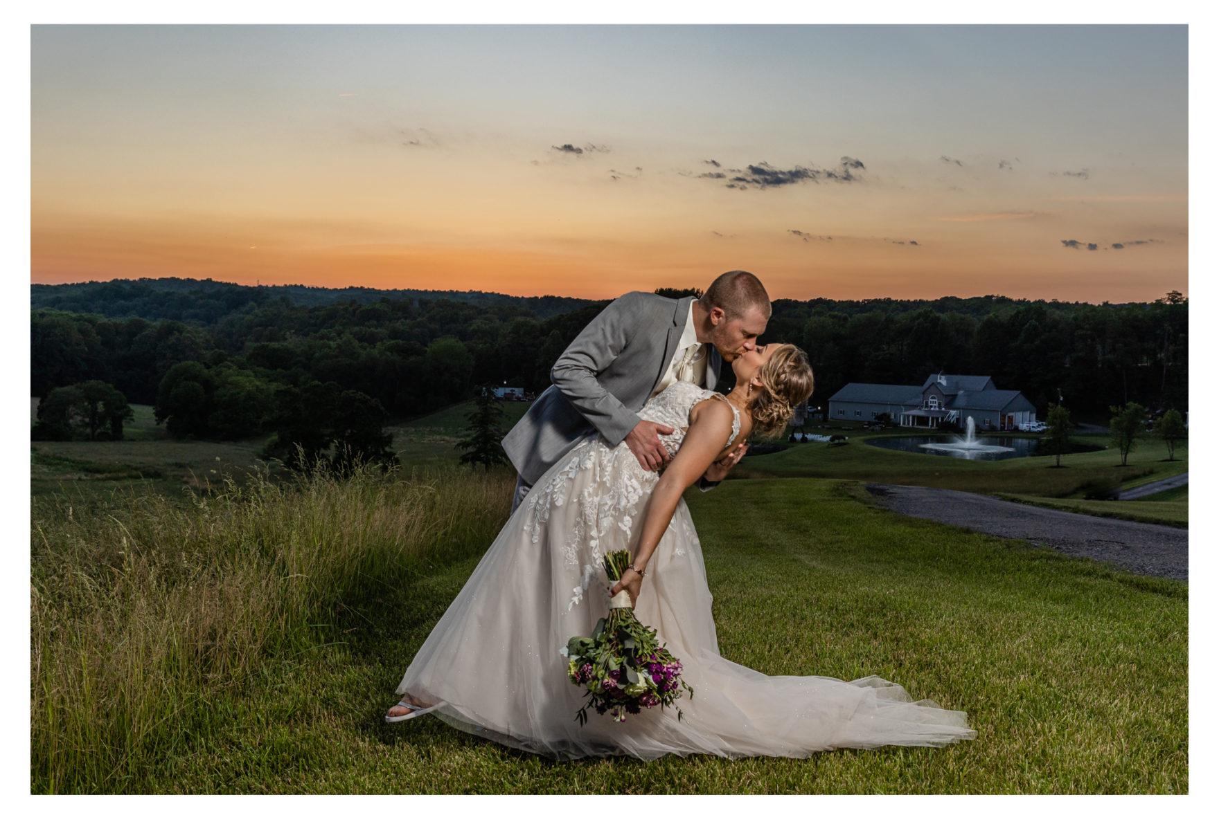 Summer Wedding Stone Ridge Hollow June Wedding Lavender dresses bride and groom sunset photo