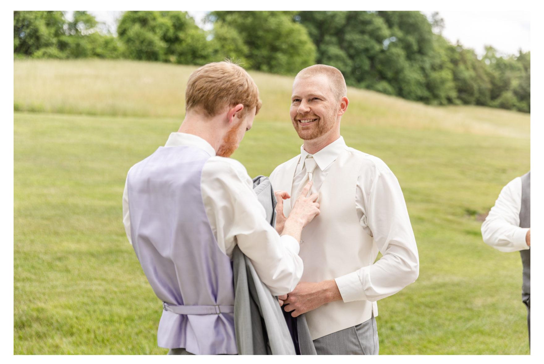 Summer Wedding Stone Ridge Hollow June Wedding Lavender dresses groom