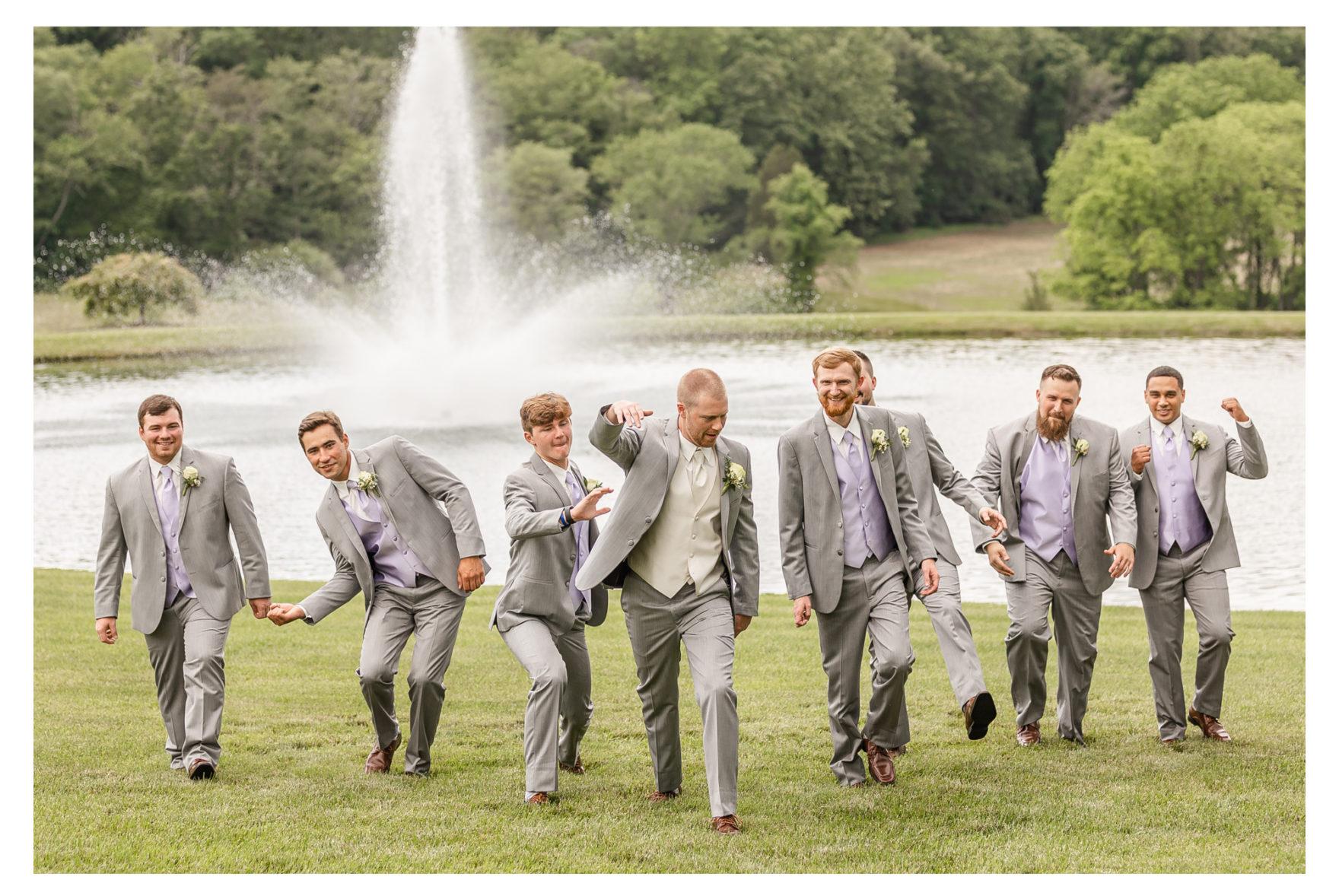 Summer Wedding Stone Ridge Hollow June Wedding Lavender dresses groomsmen