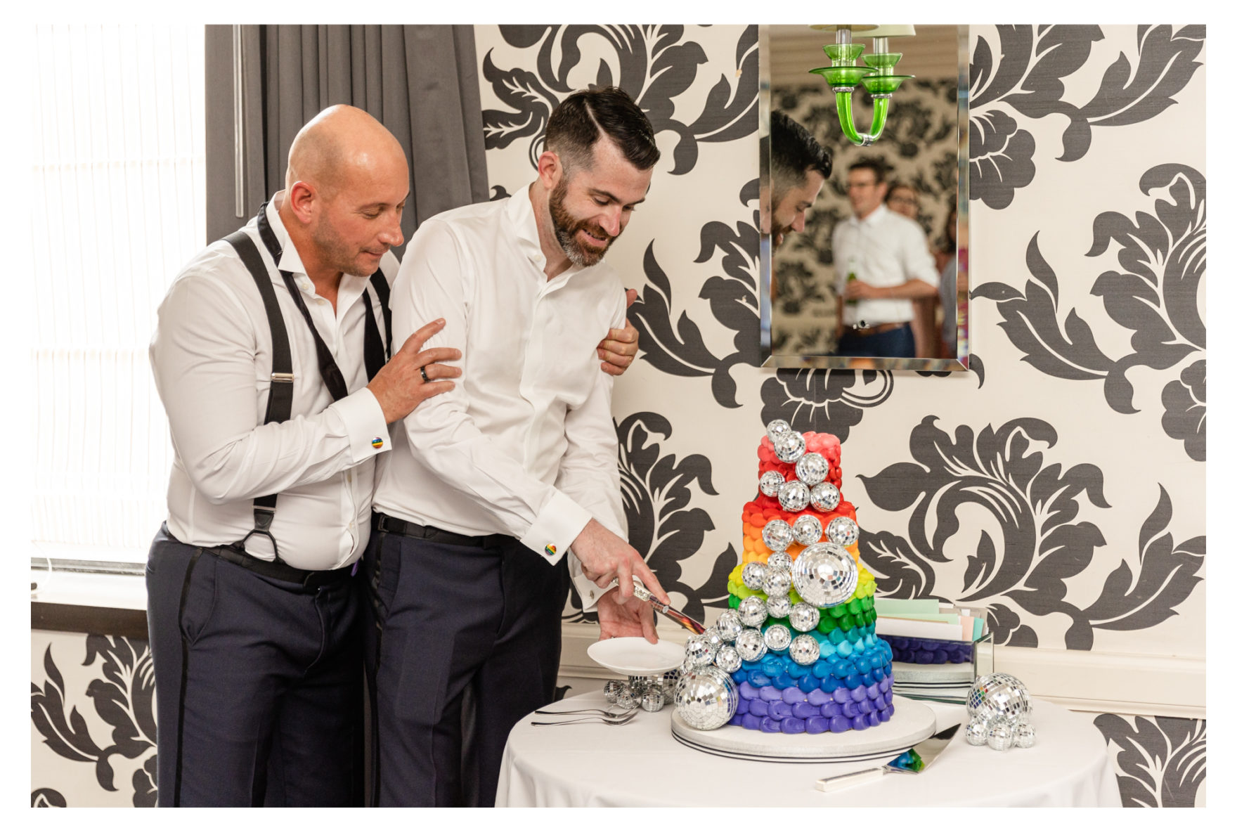 Same Sex Male Disco Themed Brunch Wedding Baltimore Maryland Kimpton Hotel Monaco Wedding. Love is Love Rainbow Wedding. Rainbow Eclair. Disco Balls. Marble Staircase. Doggie Ring Bearer.