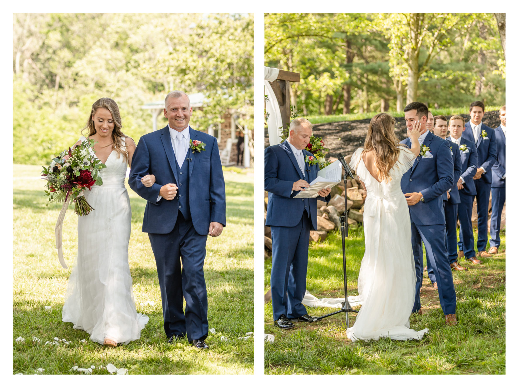 Summer wedding at a private residence farm in Westminster Carroll County Maryland. Cicadas, cows and dogs at the wedding. Pond view ceremony