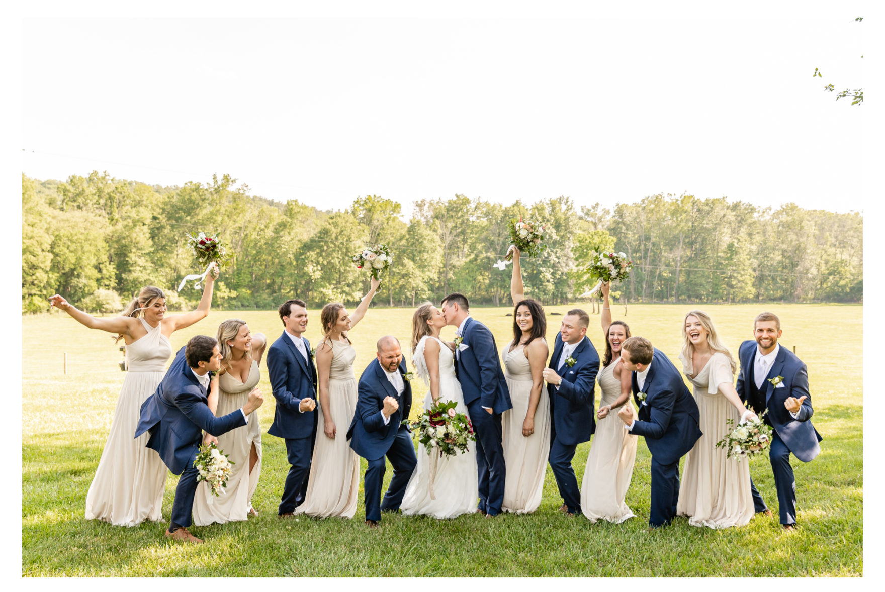 Summer wedding at a private residence farm in Westminster Carroll County Maryland. Cicadas, cows and dogs at the wedding. Pond view bridal party wedding party