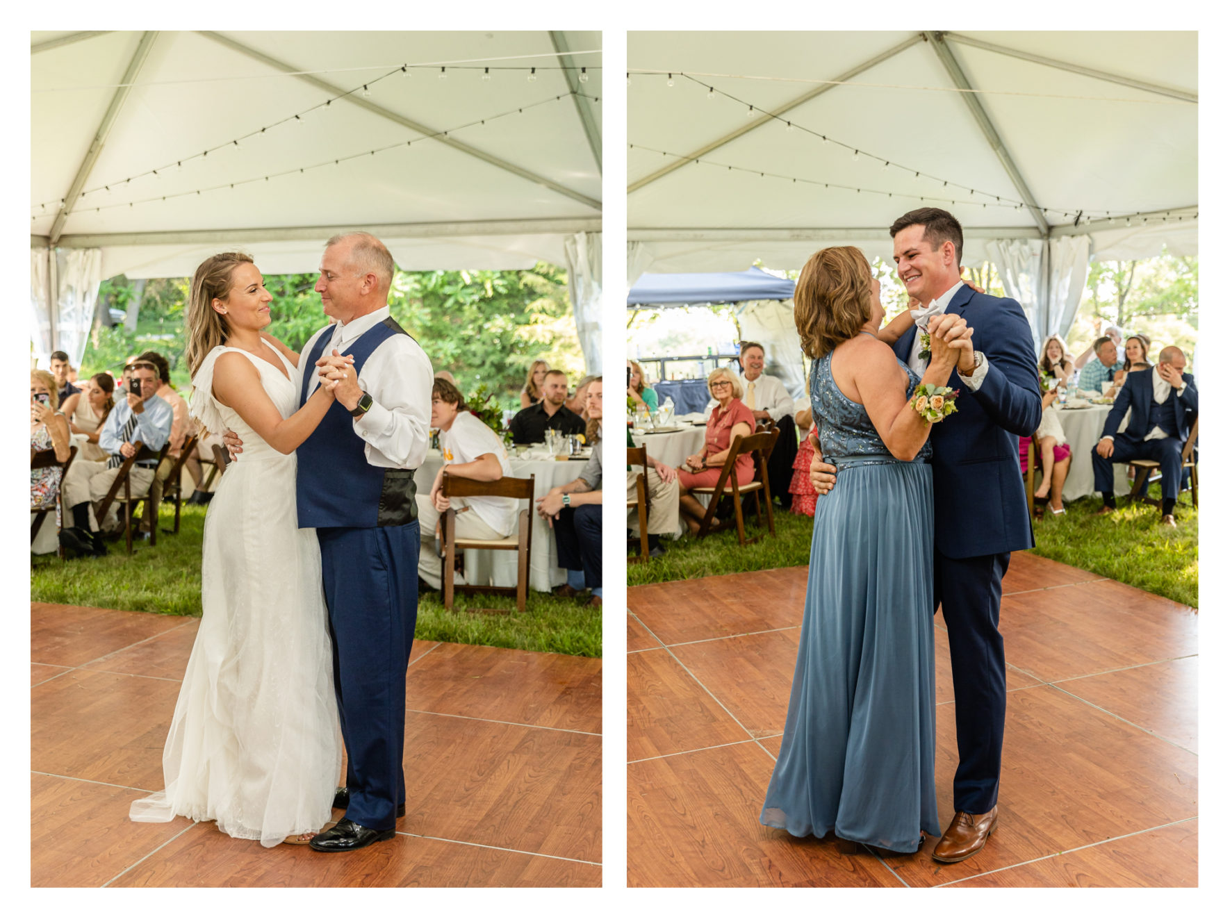 Summer wedding at a private residence farm in Westminster Carroll County Maryland. Cicadas, cows and dogs at the wedding. Pond view reception tent