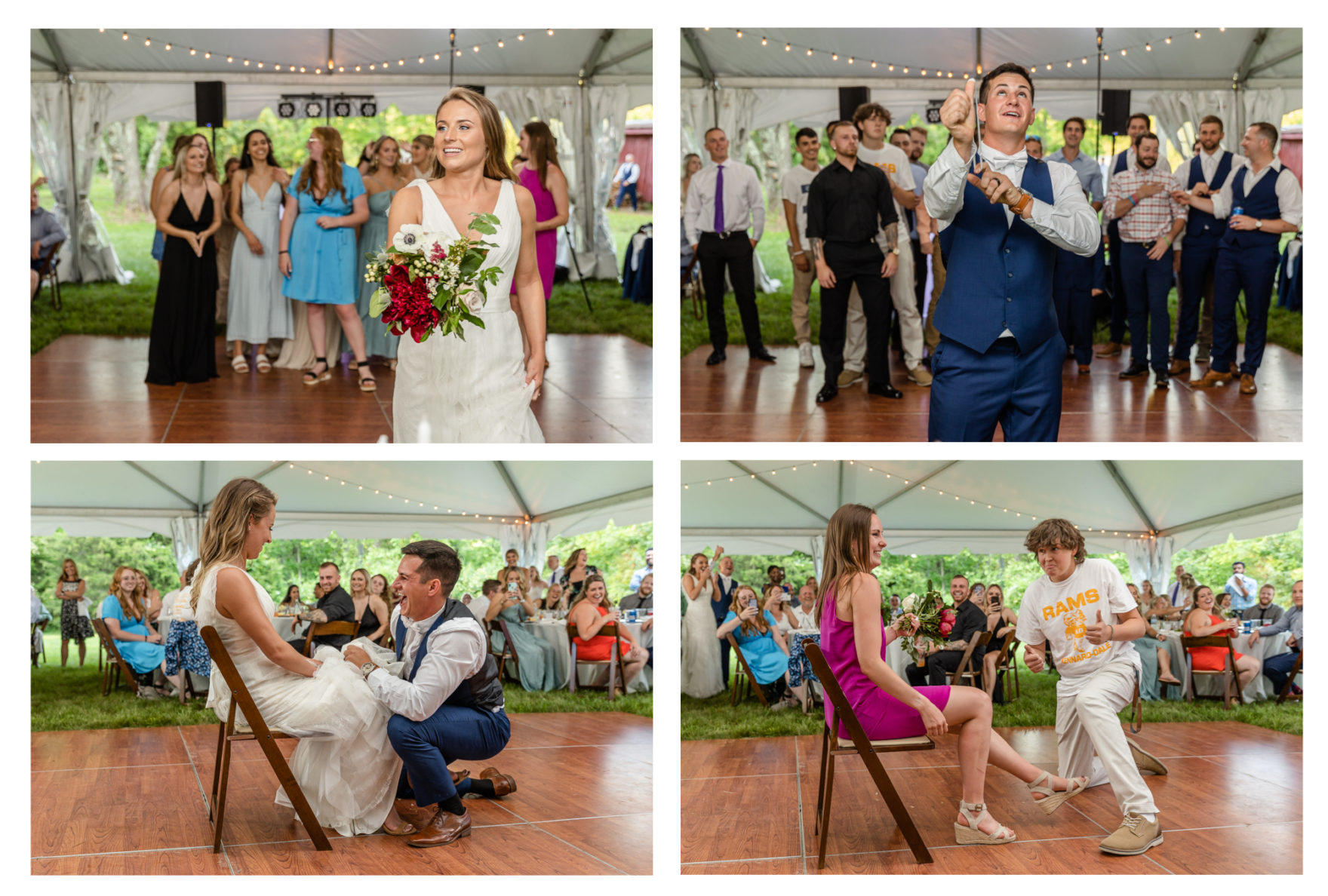 Summer wedding at a private residence farm in Westminster Carroll County Maryland. Cicadas, cows and dogs at the wedding. Pond view reception