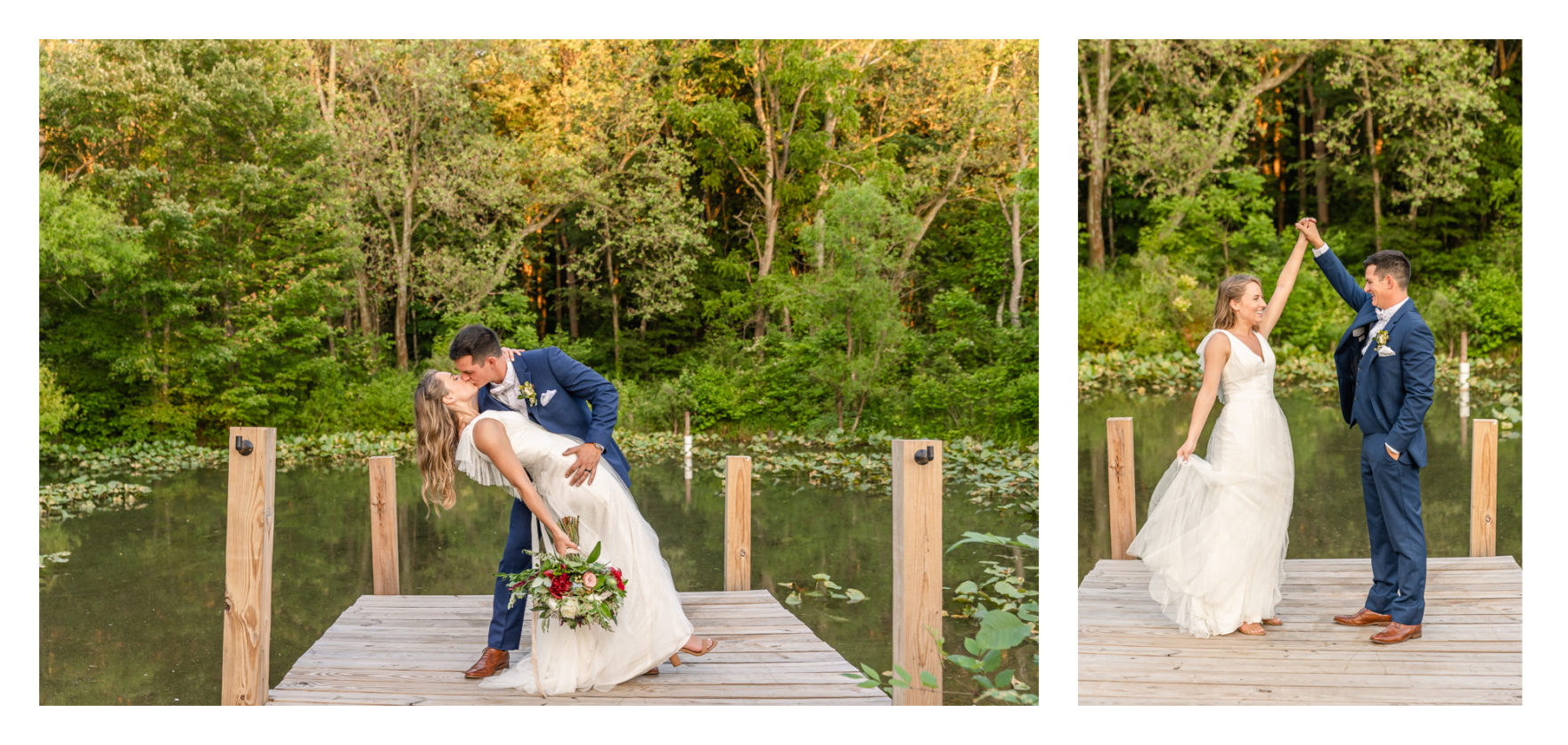 Summer wedding at a private residence farm in Westminster Carroll County Maryland. Cicadas, cows and dogs at the wedding. Pond view bride and groom