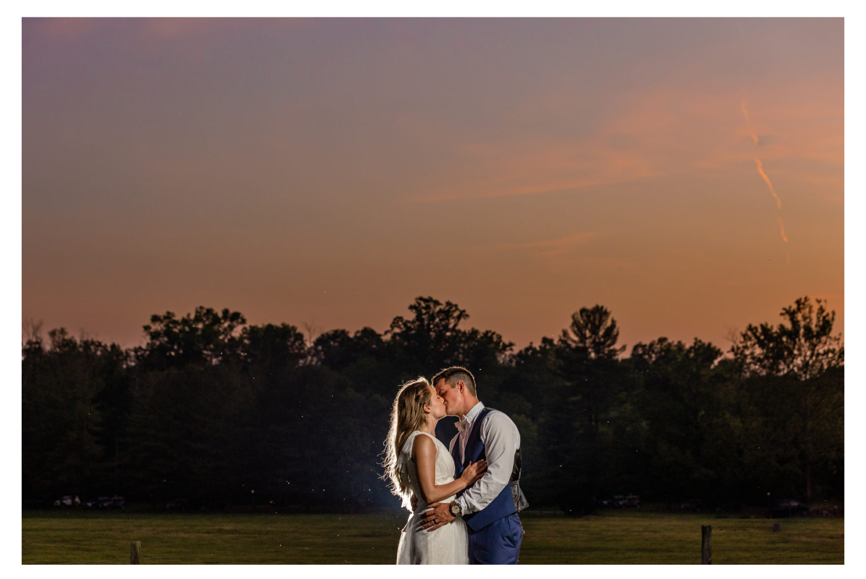 Summer wedding at a private residence farm in Westminster Carroll County Maryland. Cicadas, cows and dogs at the wedding. Pond view Sunset photo