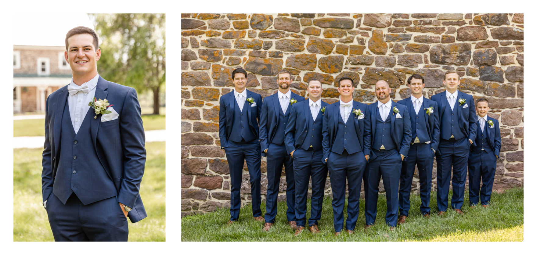 Summer wedding at a private residence farm in Westminster Carroll County Maryland. Cicadas, cows and dogs at the wedding. Pond view groom and groomsmen portraits