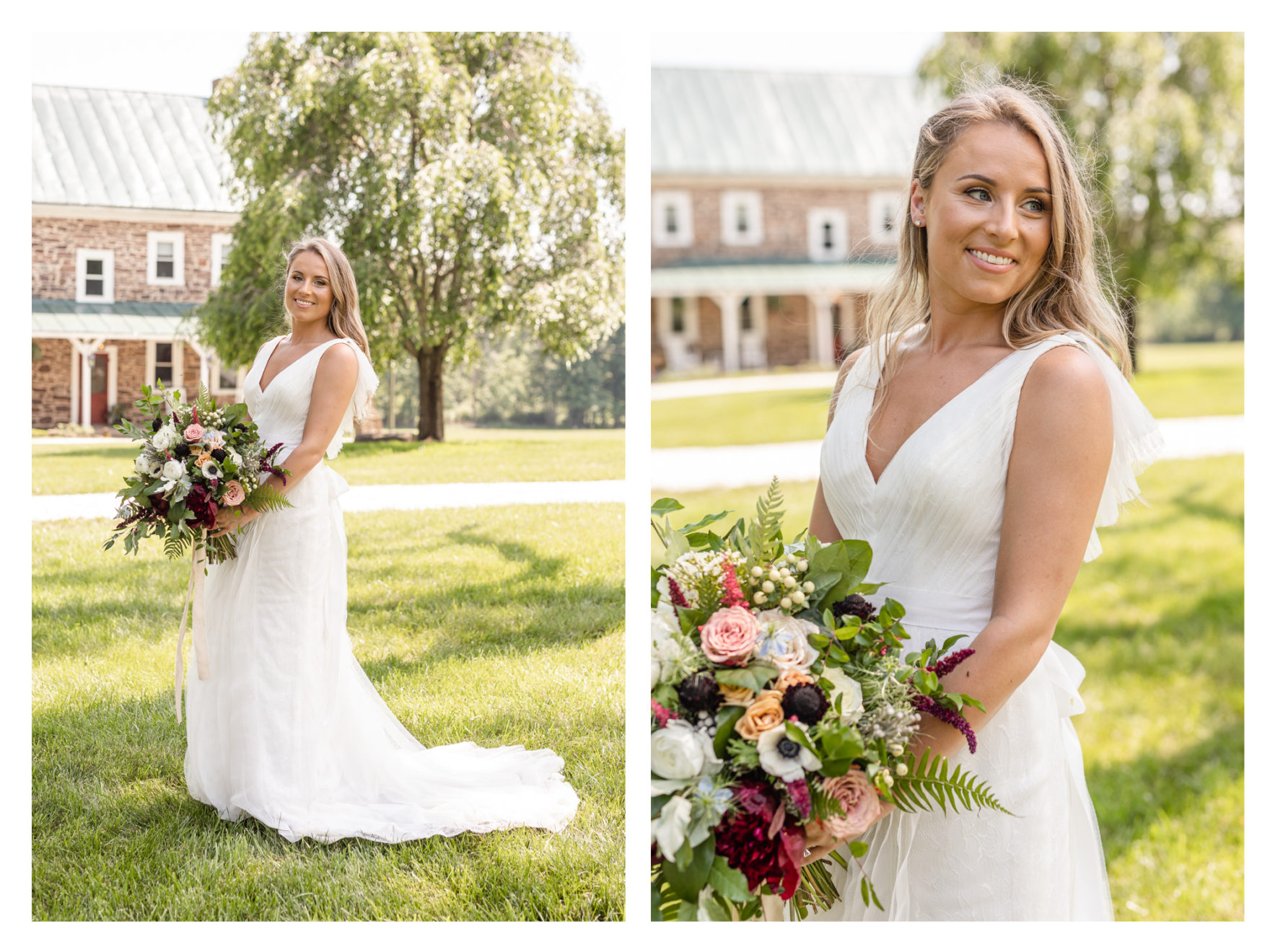 Summer wedding at a private residence farm in Westminster Carroll County Maryland. Cicadas, cows and dogs at the wedding. Pond view bride portraits